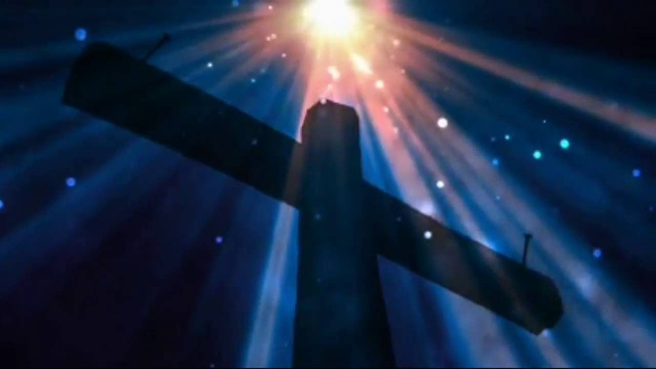 Cross With White And Blue Rays Background Motion Video -5006