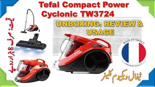 Tefal Compact Power Cyclonic Vacuum Cleaner TW3724 Unboxing, Review and Usage Urdu / Hindi