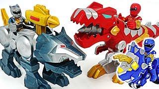 Power Rangers dinosaur T-Rex Zord, Wolf Zord, Raptor Cycle! Go! #DuDuPopTOY
