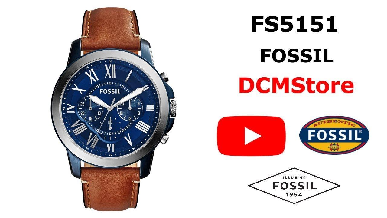 5544e11c5d8c FS5151 Fossil Grant Chronograph Blue Dial ....... DCMStore - YouTube