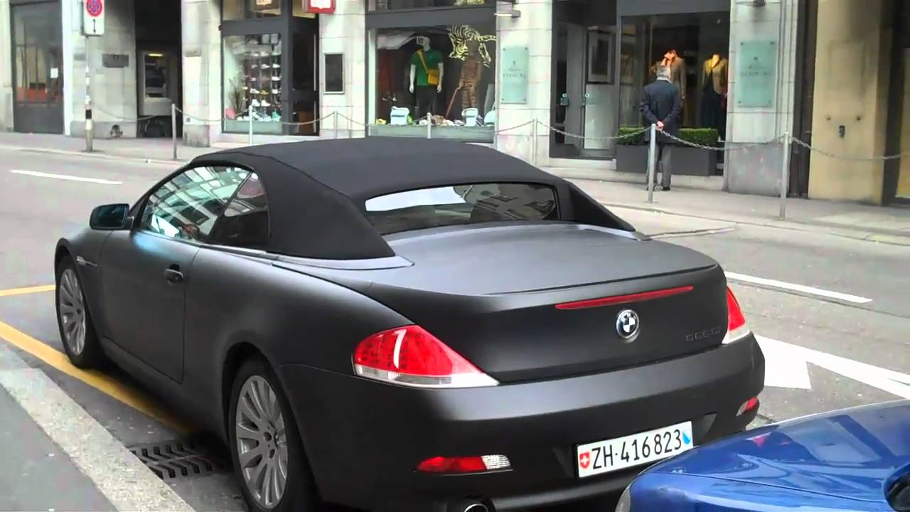 matte black bmw 6 series convertible parked walkaround. Black Bedroom Furniture Sets. Home Design Ideas