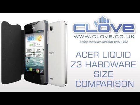 Acer Liquid Z3 Hardware Size Comparison