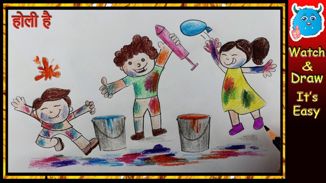 Easy holi festival drawing for kids