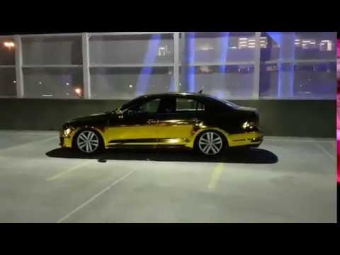 CRAZY Gold chrome vinyl wrap Volkswagen Jetta - YouTube