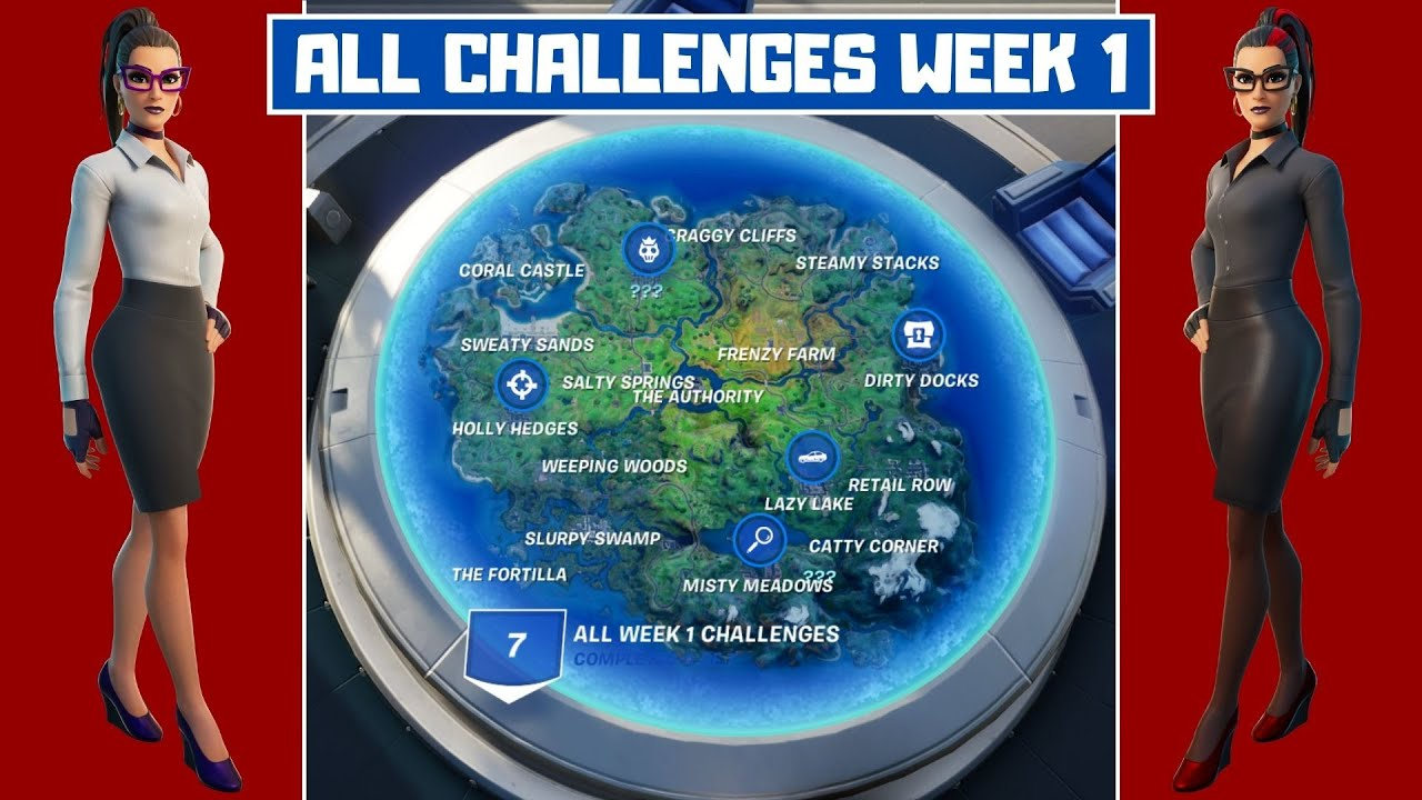 Fortnite S4 Week 2 Challenges Map All Week 1 Challenges Guide Fortnite Chapter 2 Season 4 Youtube
