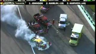 Kevin Harvick Takes out Kyle Busch Big Fire Homestead Sprint Cup Race 2010.mpg