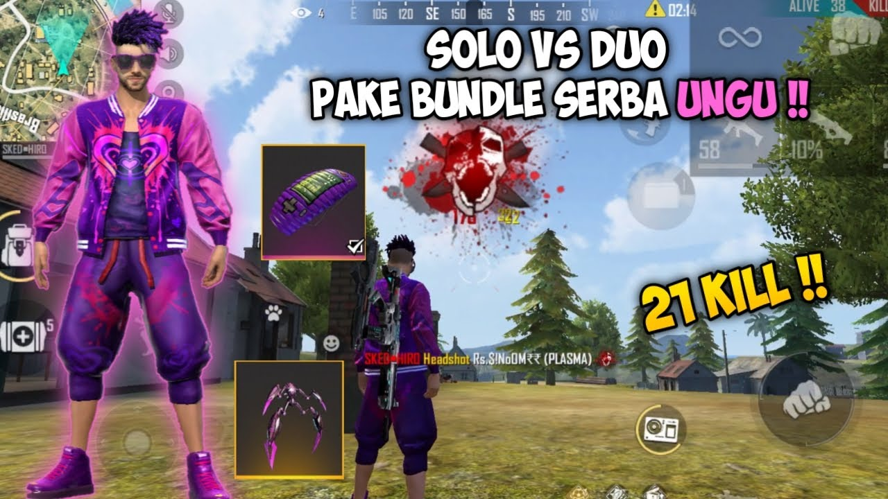 21 KILL SOLO VS DUO PAKE BUNDLE SERBA UNGU !! FREEFIRE BATTLEGROUND