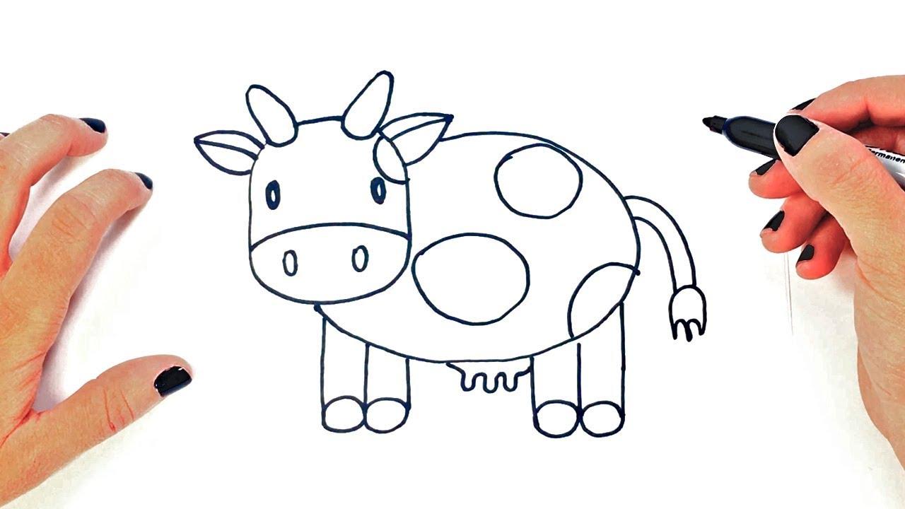 Cómo Dibujar Un Vaca Paso A Paso Dibujo Fácil De Vaca