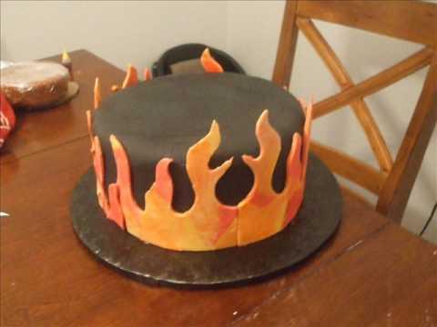Skull  Flames Fondant Cake  YouTube