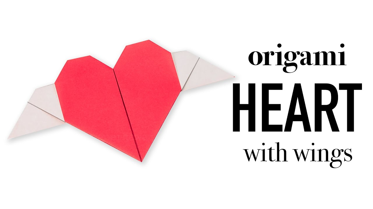 Papercraft Origami Heart With Wings Tutorial