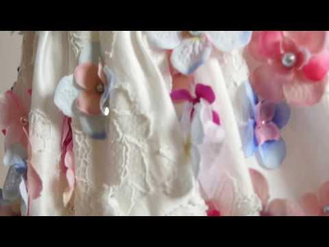 Dress with hand sewn hydrangeas