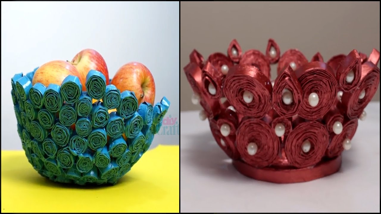 How To Make A Bowl or Basket Using Rolled Newspaper Pasting   DIY Newspaper Bowl   Best Out Of Waste