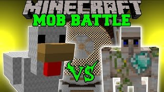 MUTANT CHICKEN VS DIAMOND HEART GOLEM & MUTANT SKELETON - Minecraft Mob Battles - Mods