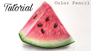 How To Draw A Watermelon | Colored Pencil Tutorial (Very Easy)