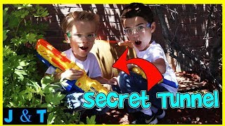 Secret Hello Neighbor Tunnels In Real Life X-Shot Battle / Jake and Ty