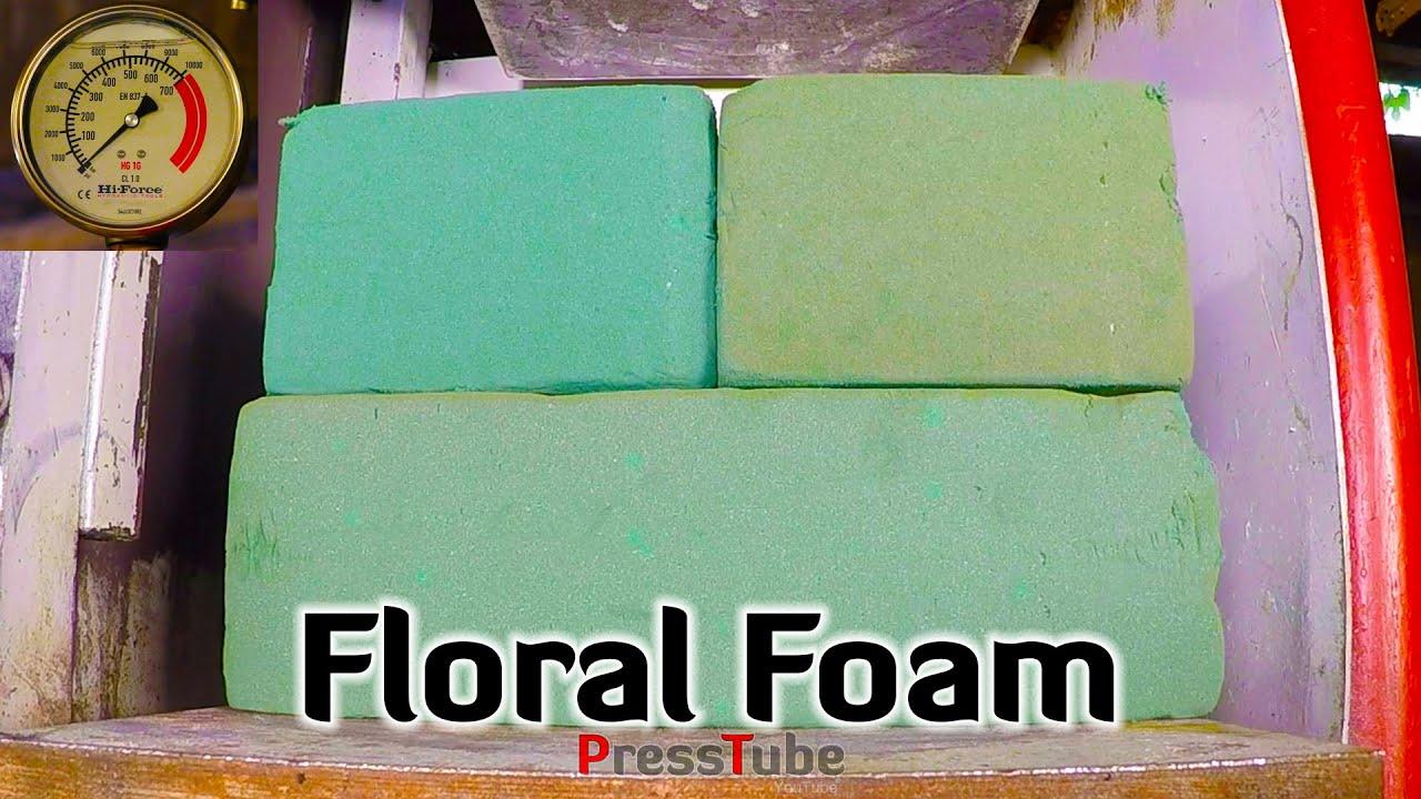 crushing 4 floral foam blocks with hydraulic press