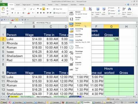 Office 2010 Class #31 Excel Time Number Format  Payroll Time Sheet
