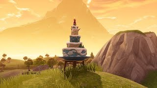 """ALL LOCATIONS """"Dance in Front of Different Birthday Cakes"""" Fortnite Birthday Challenges"""