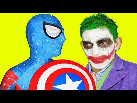 Thumbnail: Spiderman Captain America vs Joker and Catwoman in Real Life Fun Fight