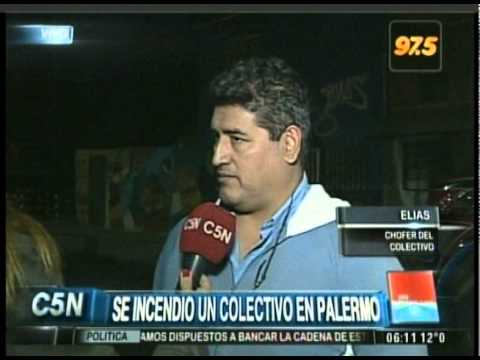 C5N - TRANSITO: SE INCENDIO UN COLECTIVO EN PALERMO (PARTE 2)