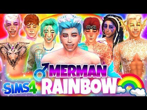 🌈BEAUTIFUL RAINBOW MERMEN!🧜♀️ - Sims 4 CAS Challenge!