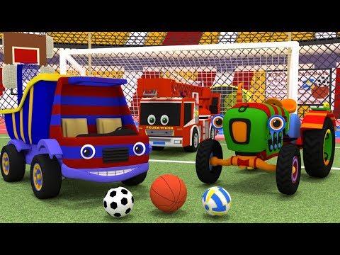 Грузовик Тема и Трактор Макс на стадионе. Машинки играют в мяч. Мультики для малышей. Игра в футбол.