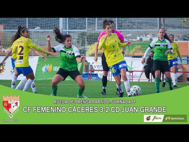 Liga #RetoIberdrola 20/21. Jornada 6ª Rueda de prensa: CF FEMENINO CÁCERES - CD JUAN GRANDE