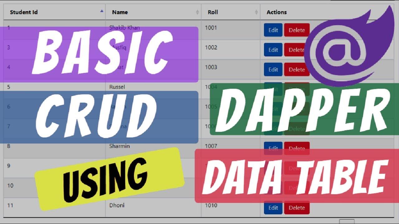 Blazor : CRUD Operation using Dapper and Basic DataTable