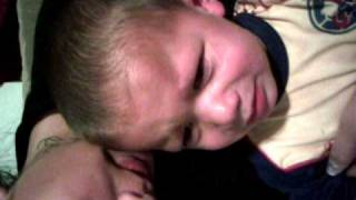 Kid scared of potty that was suck on his head!!!