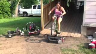 Me doing tricks on the kids bike