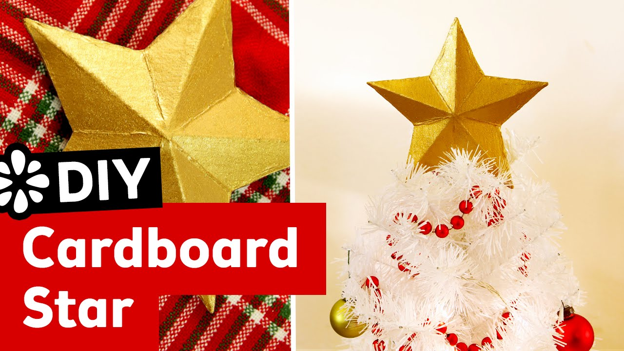 DIY 3D Cardboard Star Christmas Tree Topper Sea Lemon YouTube - Make A Christmas Star Tree Topper