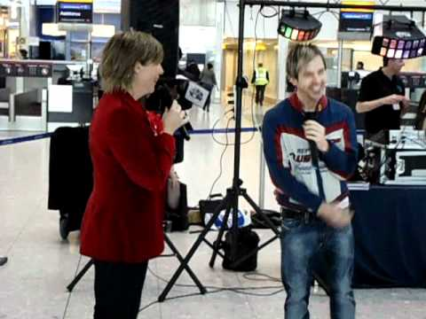 Limahl, Mel Giedroyc and Charlie Baker at Heathrow Airport Terminal 5 on Red Nose Day 2011