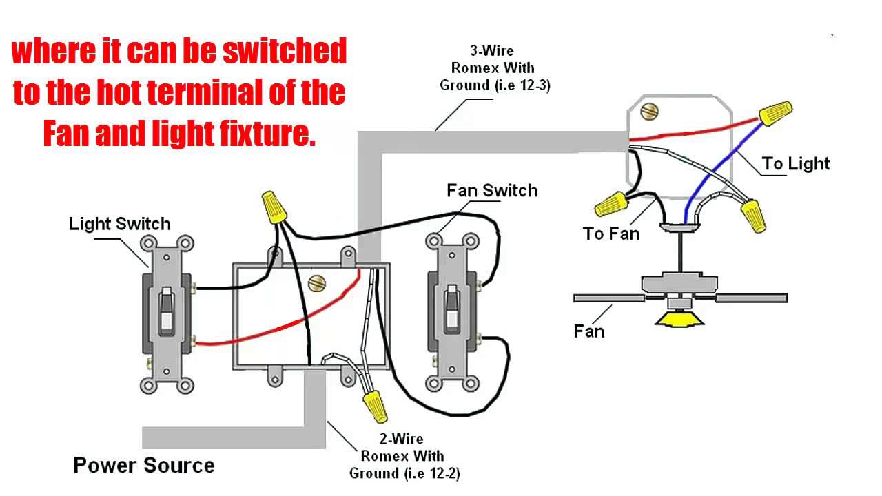 ceiling fan wiring diagram two switches classic mini front suspension how to wire with light switch outdoor fans youtube