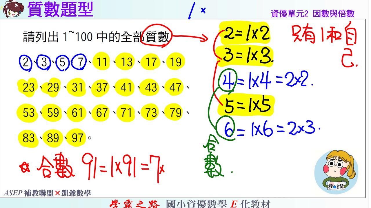 國小資優數學 單元2 因數與倍數 練4 質數題型 ASEPx凱爺數學 - YouTube