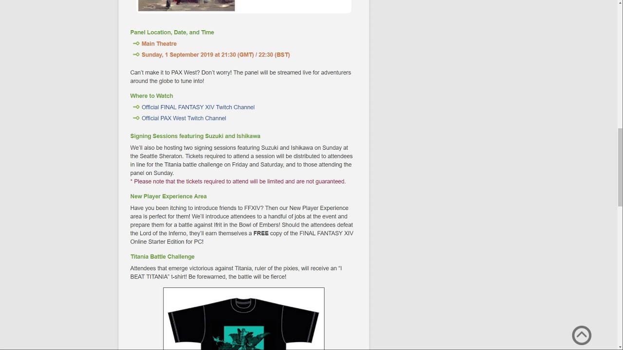 Ffxiv Pax West Livestream Details