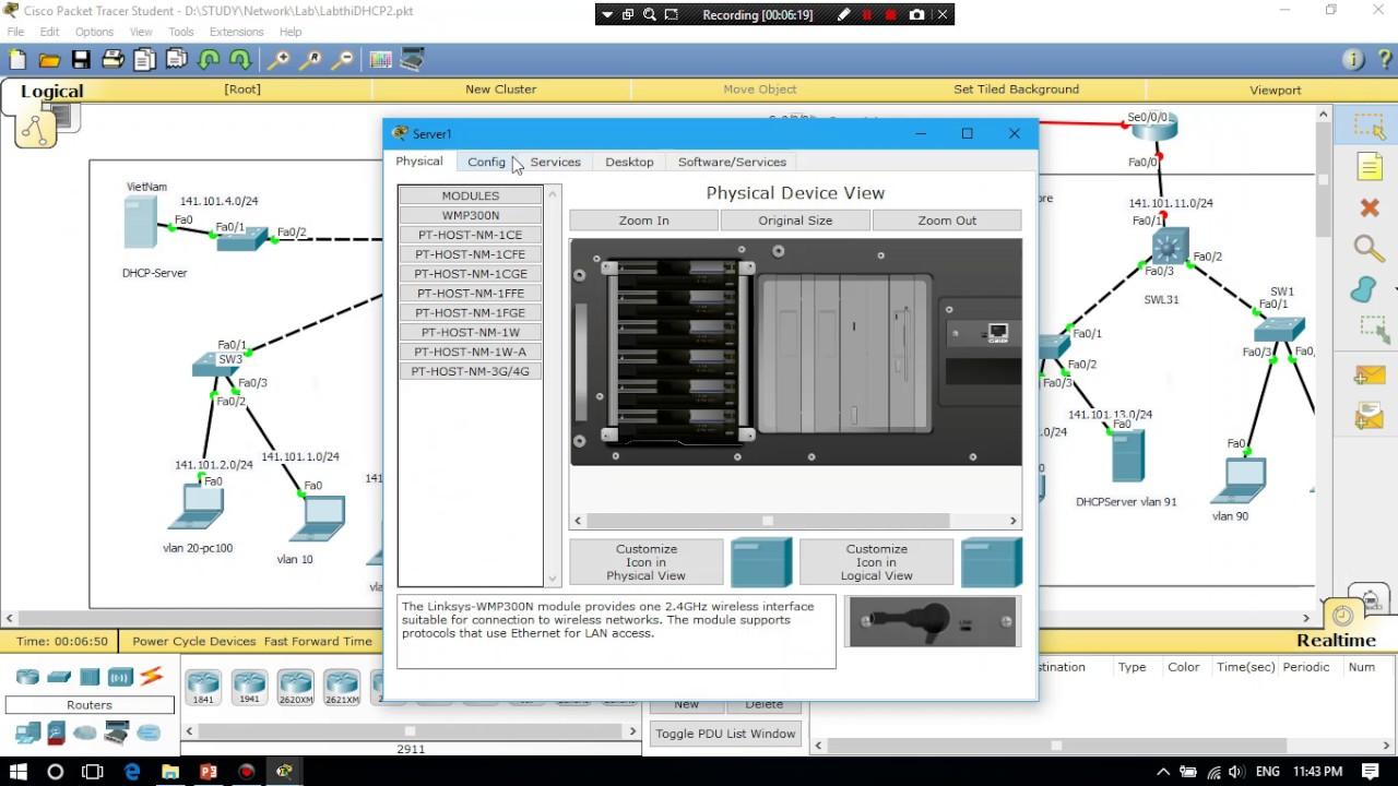 Cấu hình DHCP để cấp IP động cho chi nhánh trên packet tracer
