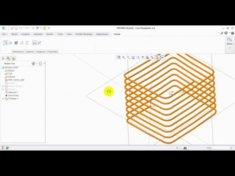 Rectangular helical sweep in Creo 2.0
