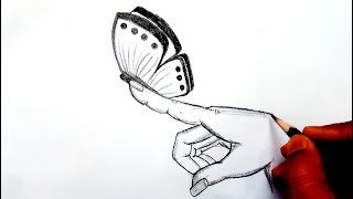 How to Draw a Butterfly - Butterfly on a Finger - Butterfly drawings in pencil - (Easy Drawing)
