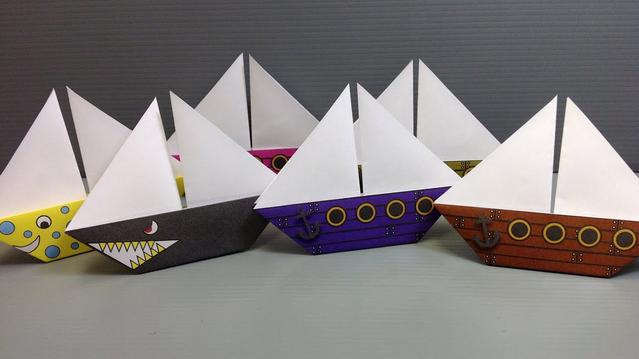 Free Origami Sailboat Paper - Print Your Own! - Pirate and Shark Ships ...