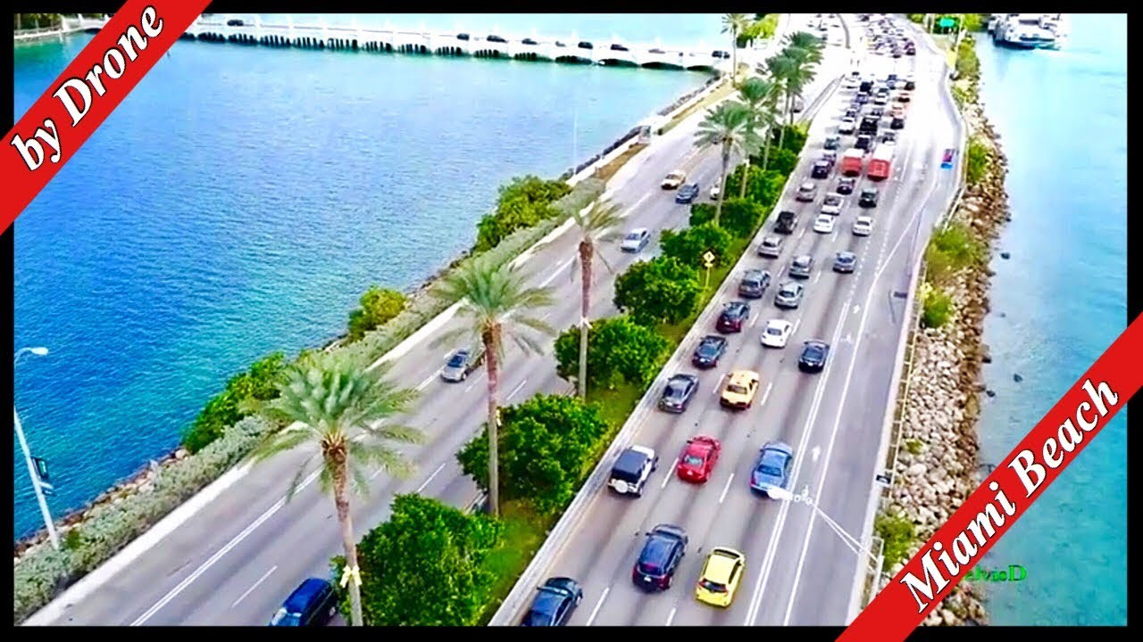 Miami Beach Port Of Star Island Macarthur By Drone