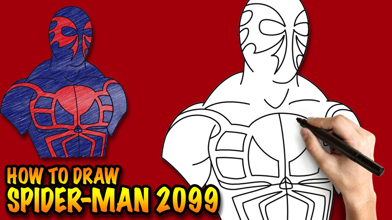 how to draw spiderman 2099 easy stepbystep drawing