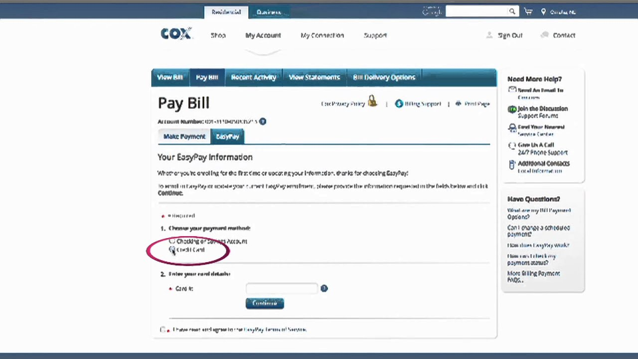 How to set up Easy Pay on Cox com using a credit card | Billing & Account