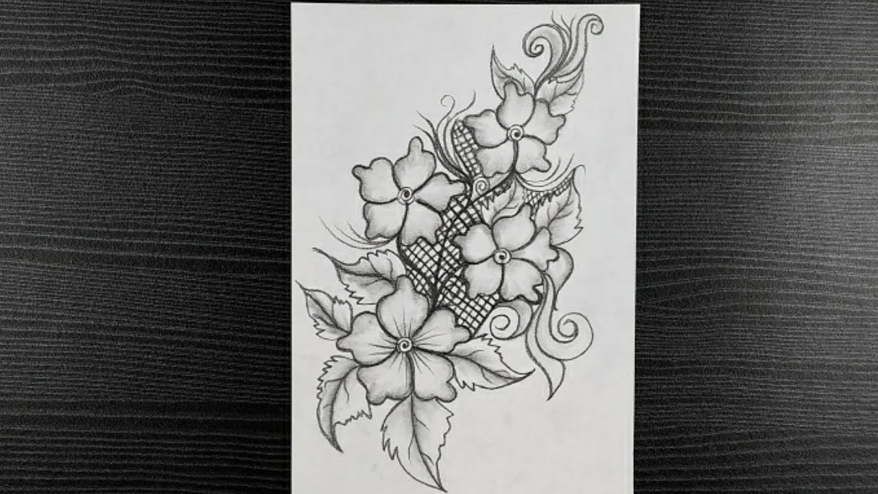 How To Draw Flower Bouquet Simple Flower Bouquet Drawing Easy Drawing Pencil Drawing Youtube