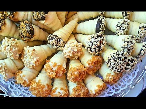 cornets aux cacahuètes et caramel salé كورني بالكوكاو و الكراميل المملح