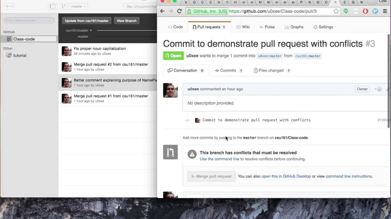 merge conflicts github for mac