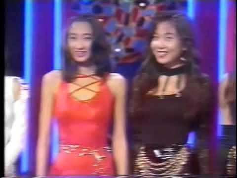 shiny pantyhose and higheels walking on vintage TV night show in japan