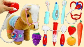 Pucci Pups Cute Horse Doll Visits Pet Vet Toy Hospital & Eats Toy Velcro Cutting Fruit and Veggies!
