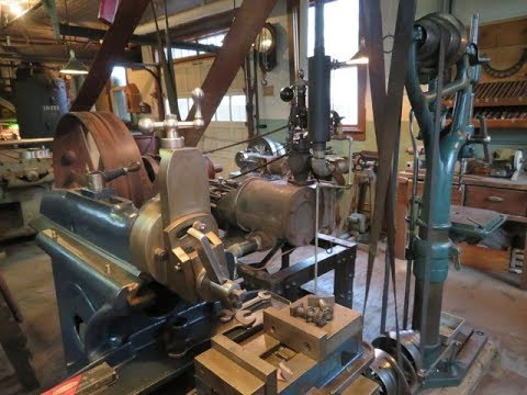 OLD STEAM POWERED MACHINE SHOP  34   setting up a cutter grinder