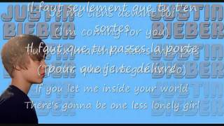 One Less Lonely Girl - Justin Bieber (French Version Lyrics)