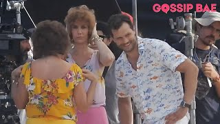 """Jamie dornan, kristen wiig and annie mumolo filming """"barb star go to vista del mar"""" at the beach in cancun. for more celebrity updates subscribe athttps:..."""